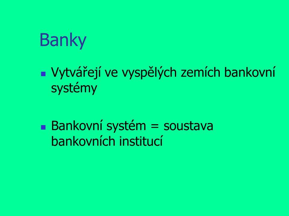 Banky Vytvářejí ve vyspělých zemích bankovní systémy Bankovní systém = soustava bankovních institucí