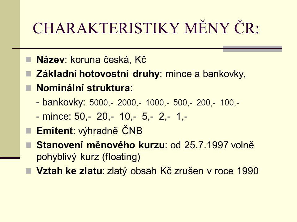 CHARAKTERISTIKY MĚNY ČR: Název: koruna česká, Kč Základní hotovostní druhy: mince a bankovky, Nominální struktura: - bankovky: 5000,- 2000,- 1000,- 50