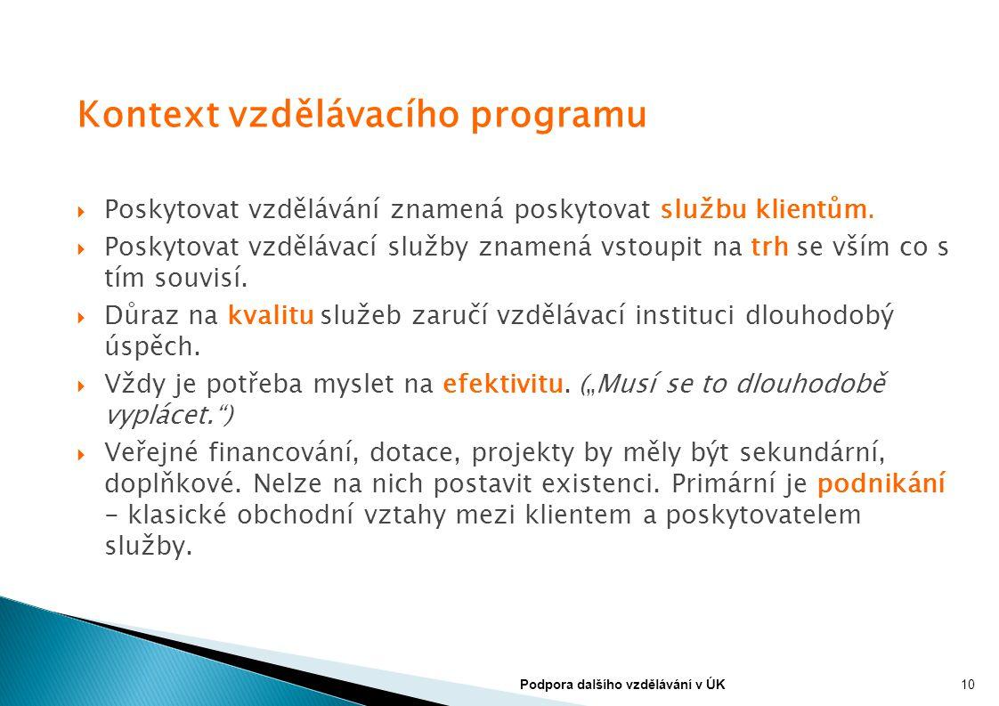 Kontext vzdělávacího programu  Poskytovat vzdělávání znamená poskytovat službu klientům.  Poskytovat vzdělávací služby znamená vstoupit na trh se vš