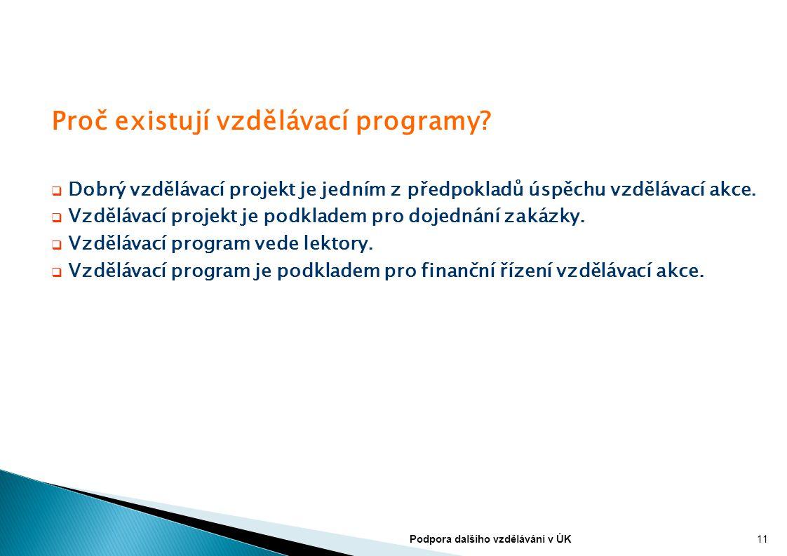 Proč existují vzdělávací programy?  Dobrý vzdělávací projekt je jedním z předpokladů úspěchu vzdělávací akce.  Vzdělávací projekt je podkladem pro d