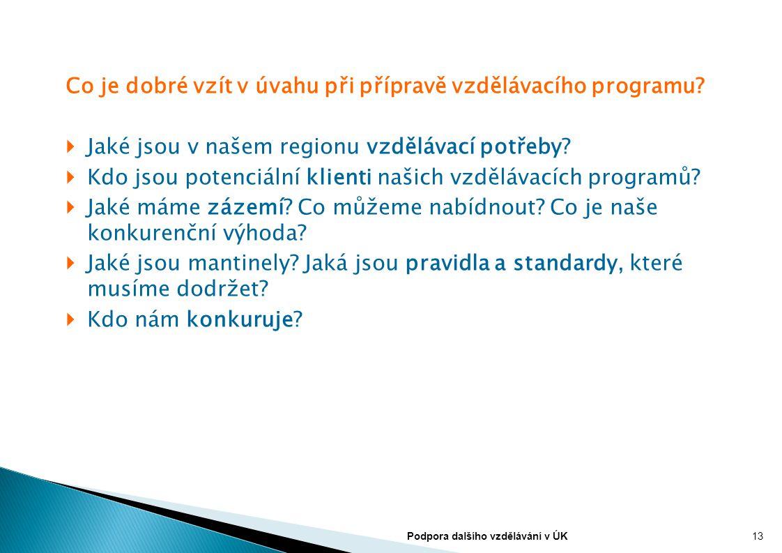 Co je dobré vzít v úvahu při přípravě vzdělávacího programu?  Jaké jsou v našem regionu vzdělávací potřeby?  Kdo jsou potenciální klienti našich vzd