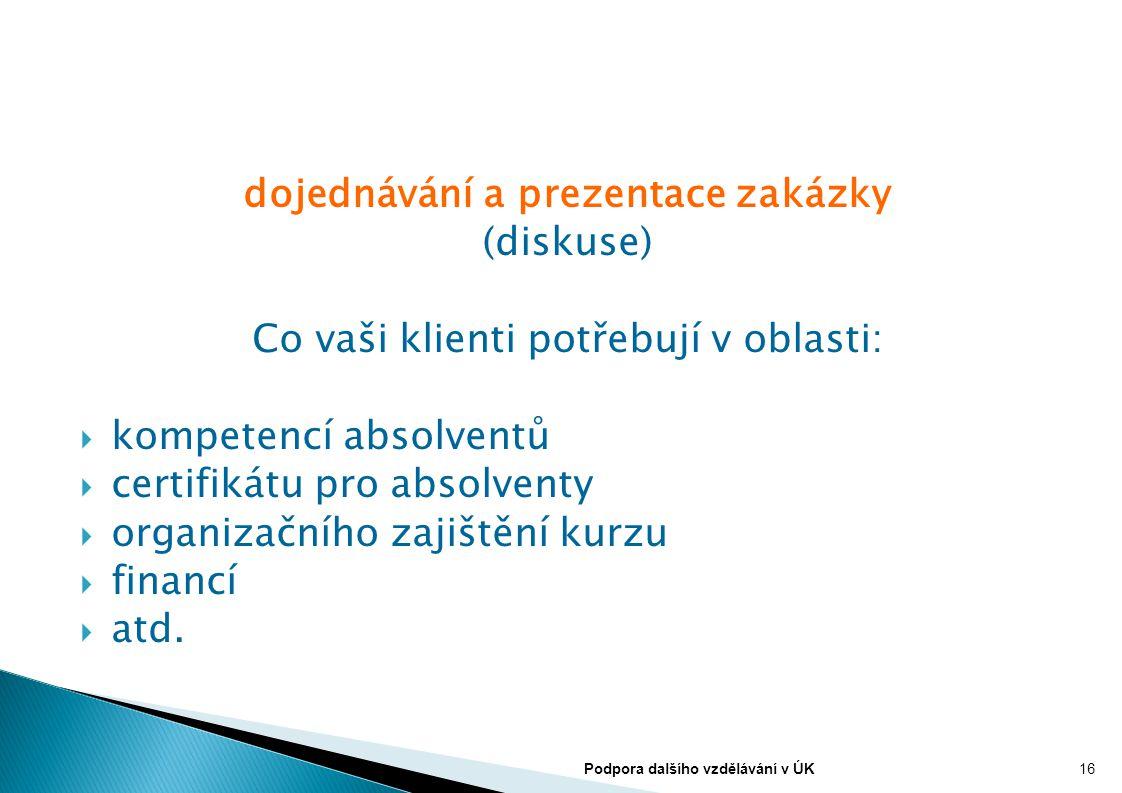 dojednávání a prezentace zakázky (diskuse) Co vaši klienti potřebují v oblasti:  kompetencí absolventů  certifikátu pro absolventy  organizačního z