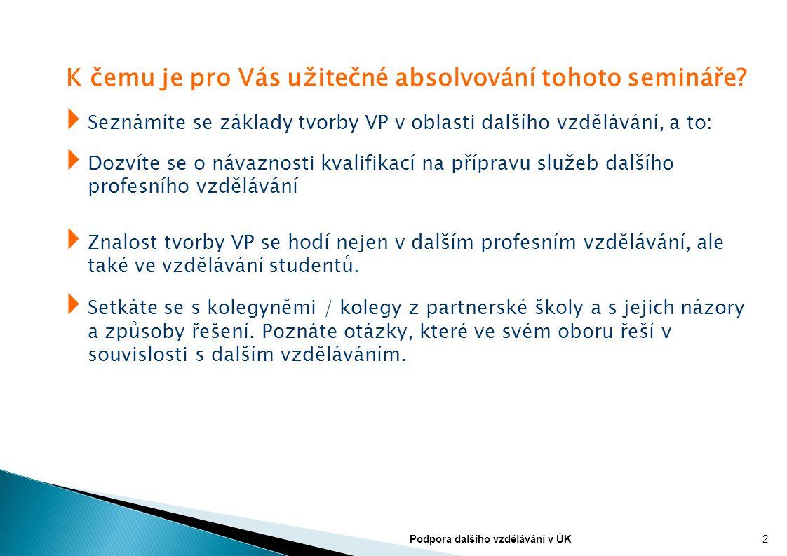 Příklady zaměření vzdělávacích programů z hlediska kvalifikací: Vzdělávací programy, které směřují k:  získání KVALIFIKACE (úplné, dílčí)  získání nové (druhé) kvalifikace – REKVALIFIKACE  obnovení kvali fi kace  prohloubení kvalifikace  rozšíření kvalifikace  doplnění kvalifikace + nejrůznější kombinace 3Podpora dalšího vzdělávání v ÚK