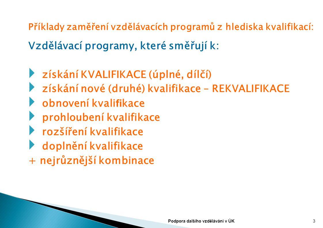 Příklady zaměření vzdělávacích programů z hlediska kvalifikací: Vzdělávací programy, které směřují k:  získání KVALIFIKACE (úplné, dílčí)  získání n