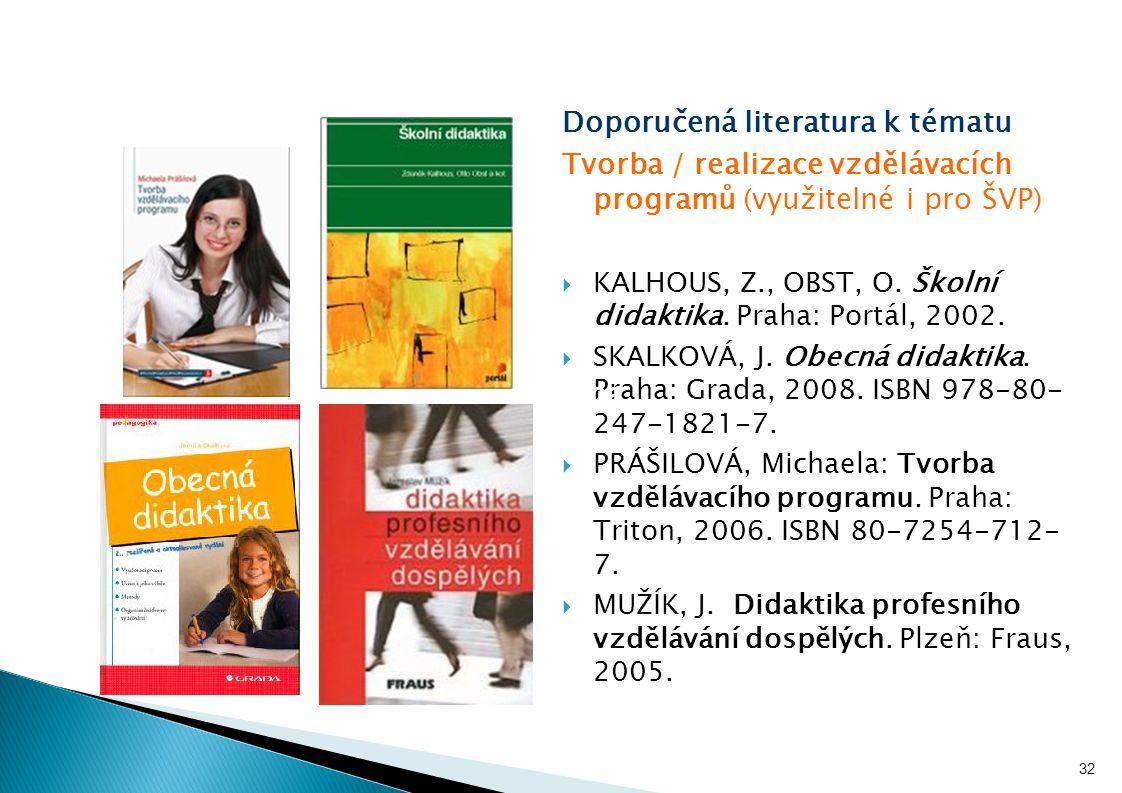 Doporučená literatura k tématu Tvorba / realizace vzdělávacích programů (využitelné i pro ŠVP)  KALHOUS, Z., OBST, O. Školní didaktika. Praha: Portál