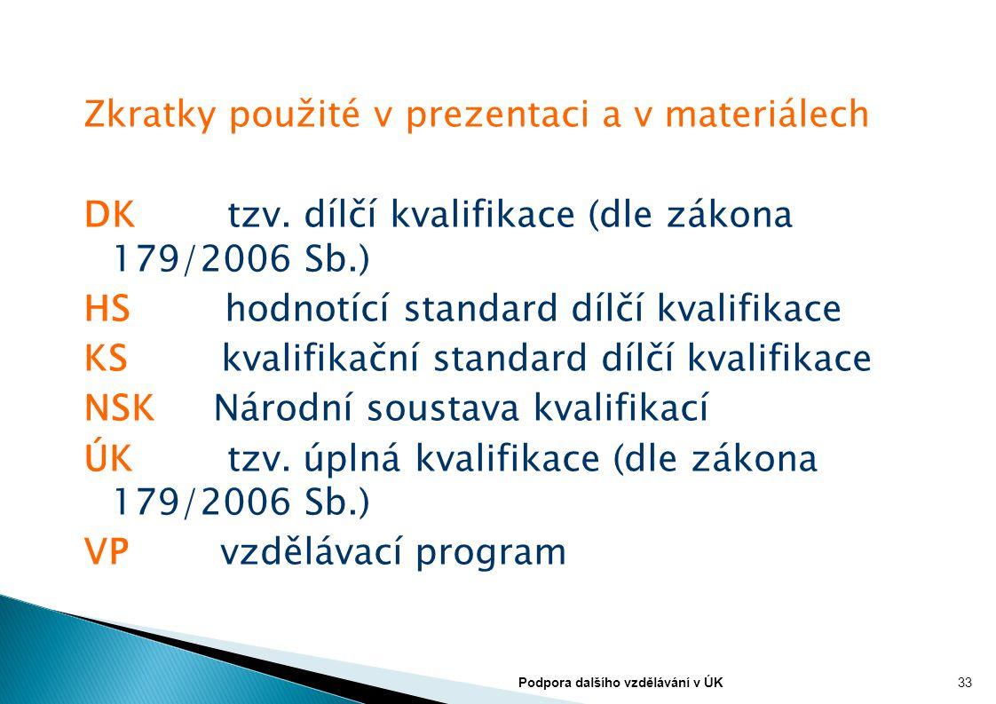 Zkratky použité v prezentaci a v materiálech DK tzv. dílčí kvalifikace (dle zákona 179/2006 Sb.) HS hodnotící standard dílčí kvalifikace KS kvalifikač
