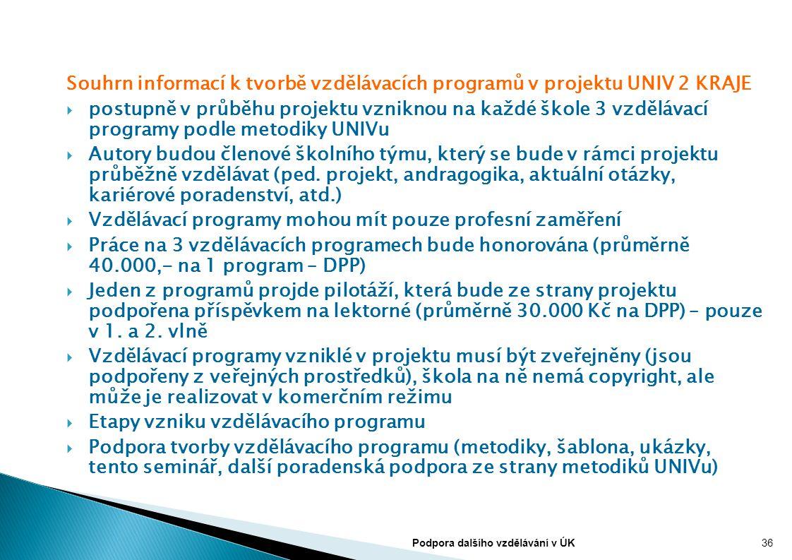 Souhrn informací k tvorbě vzdělávacích programů v projektu UNIV 2 KRAJE  postupně v průběhu projektu vzniknou na každé škole 3 vzdělávací programy po