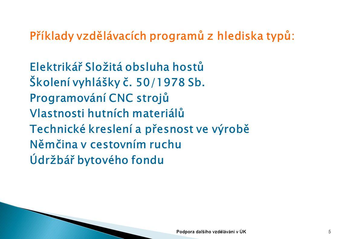 Příklady vzdělávacích programů z hlediska typů: Elektrikář Složitá obsluha hostů Školení vyhlášky č. 50/1978 Sb. Programování CNC strojů Vlastnosti hu