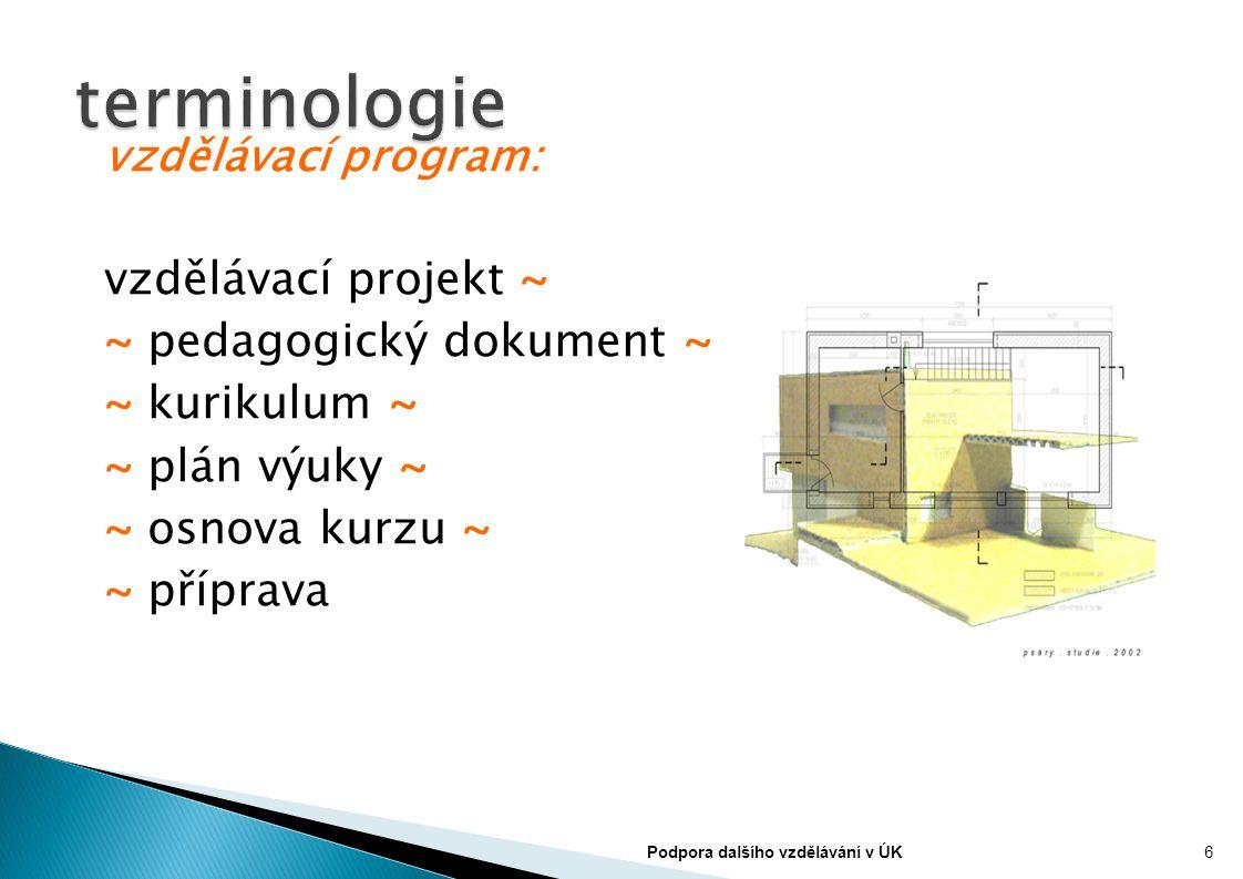 vzdělávací program: vzdělávací projekt ~ ~ pedagogický dokument ~ ~ kurikulum ~ ~ plán výuky ~ ~ osnova kurzu ~ ~ příprava 6Podpora dalšího vzdělávání