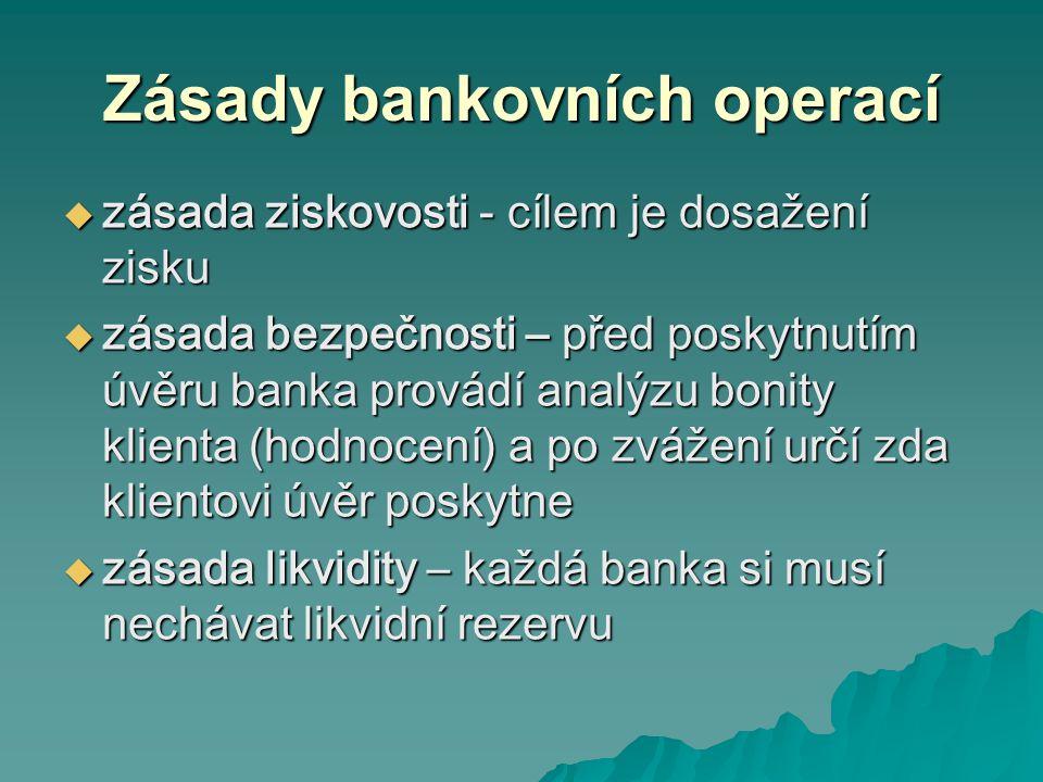 Zásady bankovních operací  zásada ziskovosti - cílem je dosažení zisku  zásada bezpečnosti – před poskytnutím úvěru banka provádí analýzu bonity klienta (hodnocení) a po zvážení určí zda klientovi úvěr poskytne  zásada likvidity – každá banka si musí nechávat likvidní rezervu