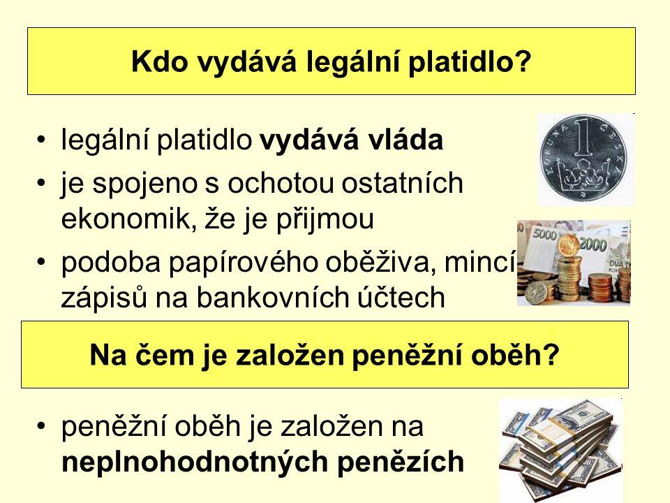 legální platidlo vydává vláda je spojeno s ochotou ostatních ekonomik, že je přijmou podoba papírového oběživa, mincí, zápisů na bankovních účtech pen