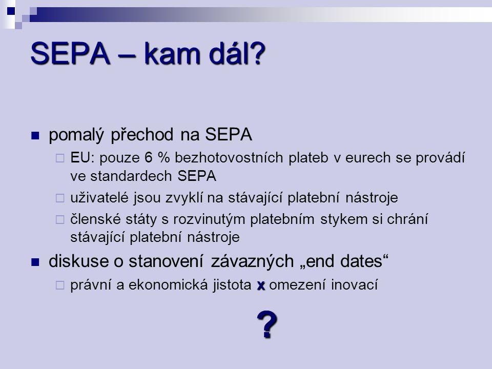 SEPA – kam dál? pomalý přechod na SEPA  EU: pouze 6 % bezhotovostních plateb v eurech se provádí ve standardech SEPA  uživatelé jsou zvyklí na stáva