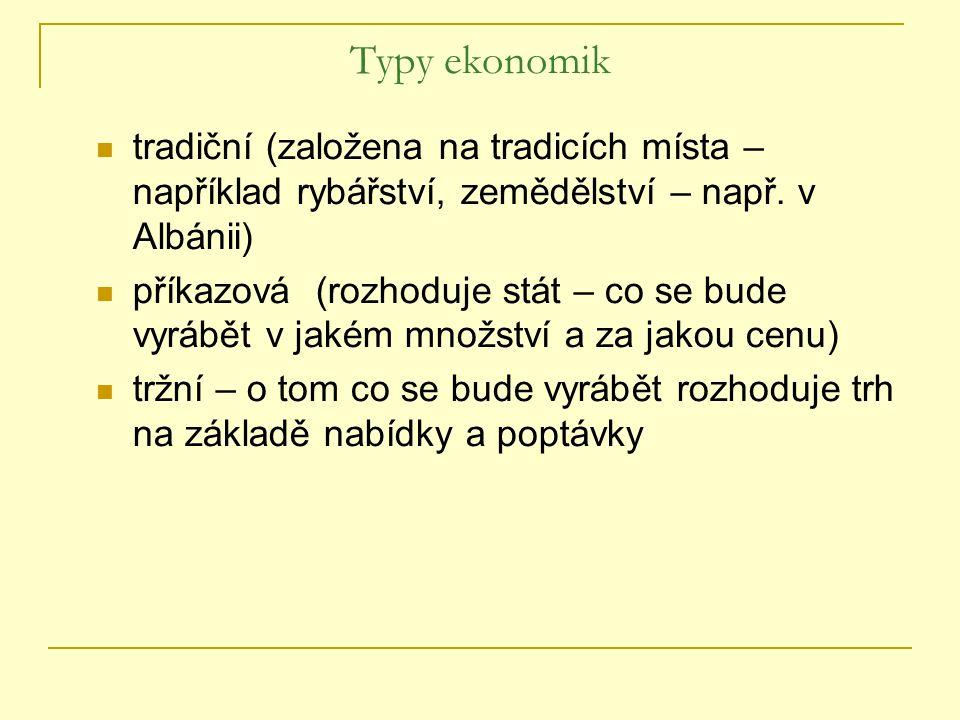Typy ekonomik tradiční (založena na tradicích místa – například rybářství, zemědělství – např. v Albánii) příkazová (rozhoduje stát – co se bude vyráb