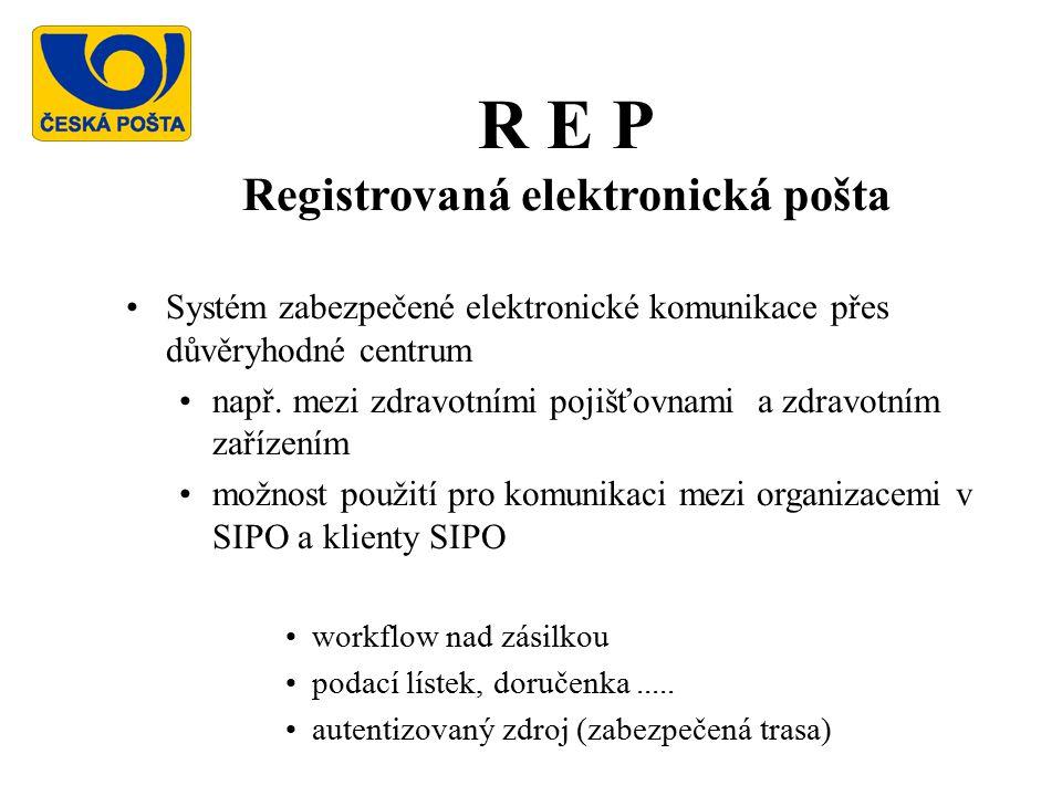 R E P Registrovaná elektronická pošta Systém zabezpečené elektronické komunikace přes důvěryhodné centrum např.