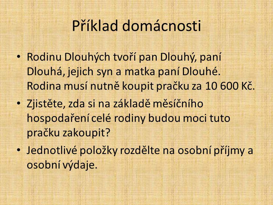 Příklad domácnosti Rodinu Dlouhých tvoří pan Dlouhý, paní Dlouhá, jejich syn a matka paní Dlouhé.