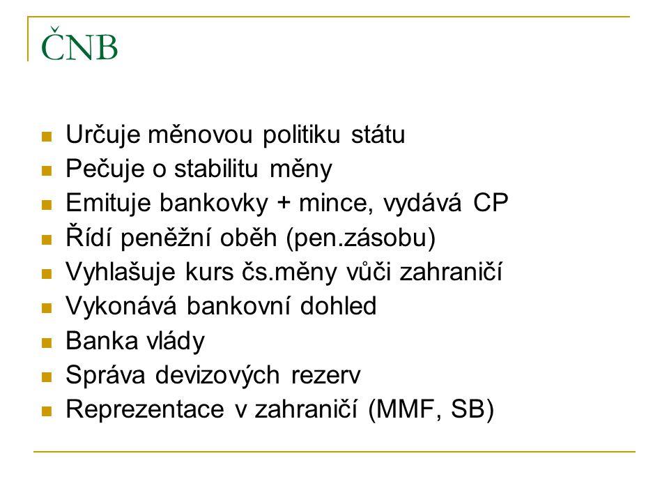 ČNB Určuje měnovou politiku státu Pečuje o stabilitu měny Emituje bankovky + mince, vydává CP Řídí peněžní oběh (pen.zásobu) Vyhlašuje kurs čs.měny vů