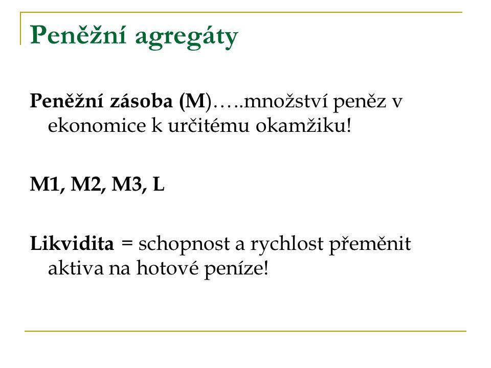 Peněžní agregáty Peněžní zásoba (M )…..množství peněz v ekonomice k určitému okamžiku! M1, M2, M3, L Likvidita = schopnost a rychlost přeměnit aktiva