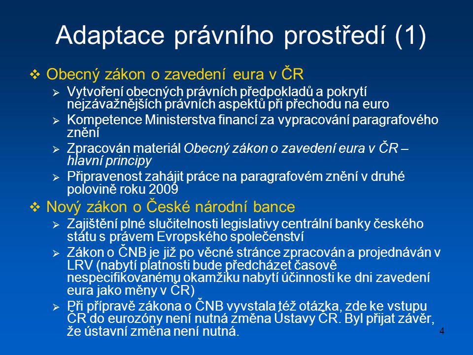 5 Adaptace právního prostředí (2)  Zákon o změně zákonů v souvislosti se zavedením eura (tzv.