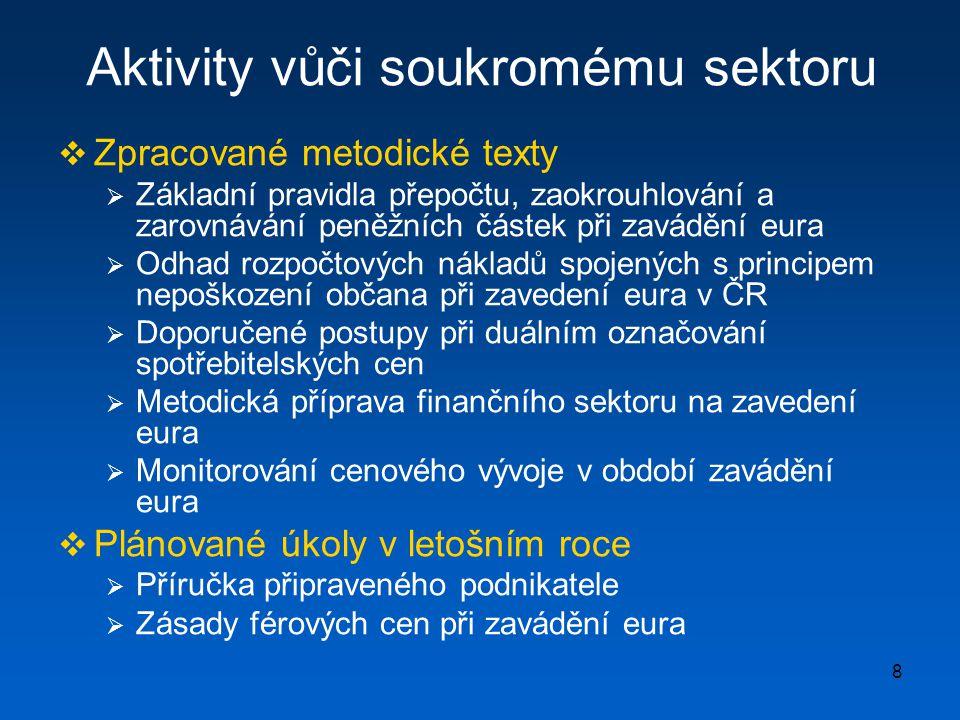 9 Komunikační kampaň  Důležitost komunikační strategie  Klíčový nástroj pro zajištění podpory veřejnosti  Důležitá nákladová položka veřejných rozpočty  Spuštění internetové stránky k euru (únor 2008)  Cca 30 % Čechů získává informace z internetu  Měsíční návštěva průměrně okolo 3000 návštěvníků a má rostoucí trend  Úkoly pro letošní rok  Koncepce komunikační strategie (obsahová stránka, harmonogram, nástroje vůči cílovým skupinám, aj.)  Organizačně-institucionální zázemí komunikační kampaně (koordinace komunikačních aktivit, monitoring, distribuce, aj.)  Slovenské zkušenosti  Zahájení kampaně mnohem dříve než po vypracování kladných hodnotících zpráv  Komunikační kampaň nelze pojmout jako technologii zavádění eura, důležitý též důraz na objasňování výhod společné měny