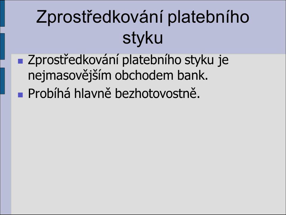 Zprostředkování platebního styku Zprostředkování platebního styku je nejmasovějším obchodem bank.