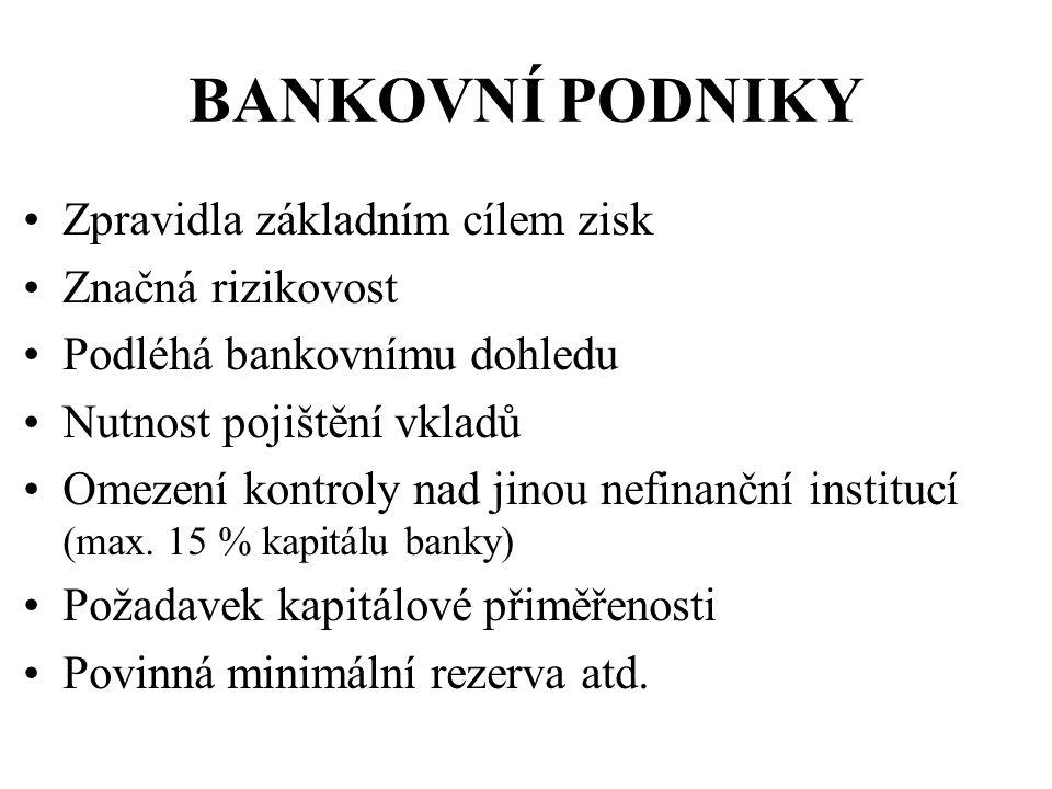 Musí splňovat podmínky (Zákon o bankách) Jde o akciovou společnost se sídlem v ČR Má licenci od ČNB Poskytuje úvěry Přijímá vklady od veřejnosti BANKOVNÍ PODNIKY