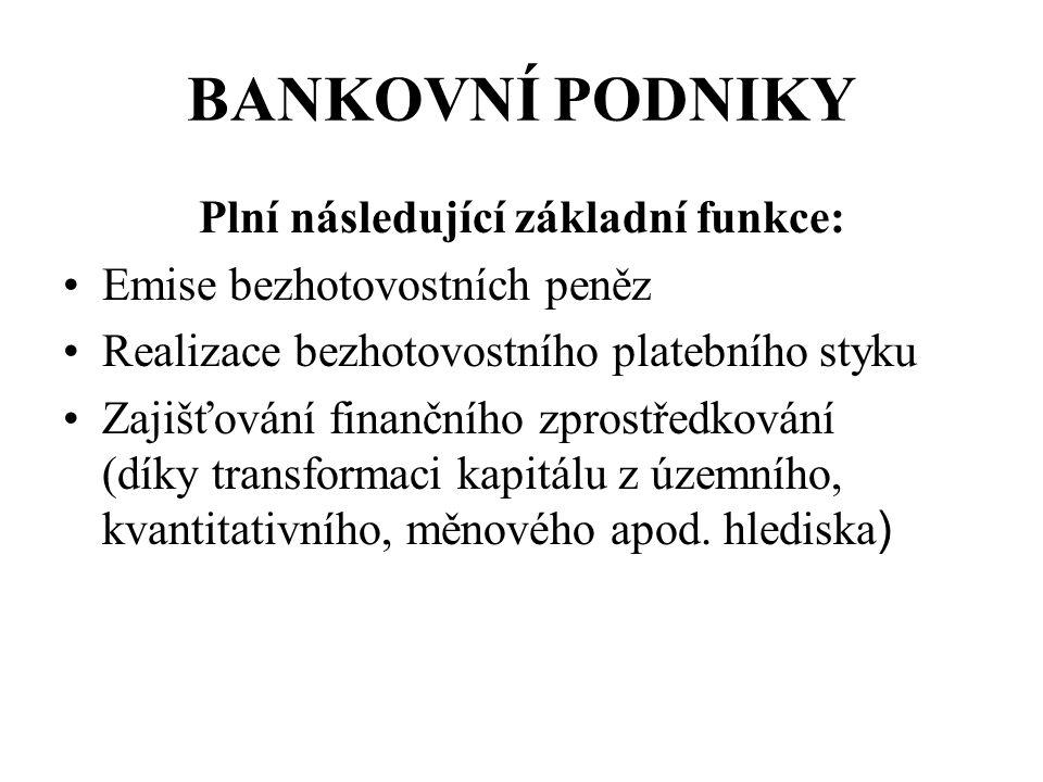 Plní následující základní funkce: Emise bezhotovostních peněz Realizace bezhotovostního platebního styku Zajišťování finančního zprostředkování (díky