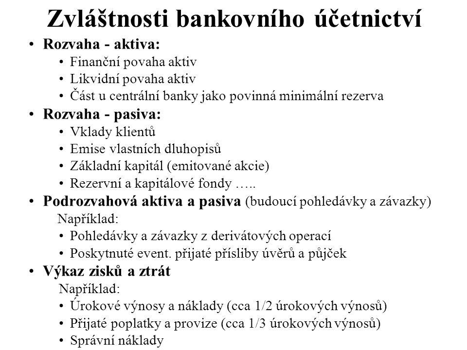 Zvláštnosti bankovního účetnictví Rozvaha - aktiva: Finanční povaha aktiv Likvidní povaha aktiv Část u centrální banky jako povinná minimální rezerva
