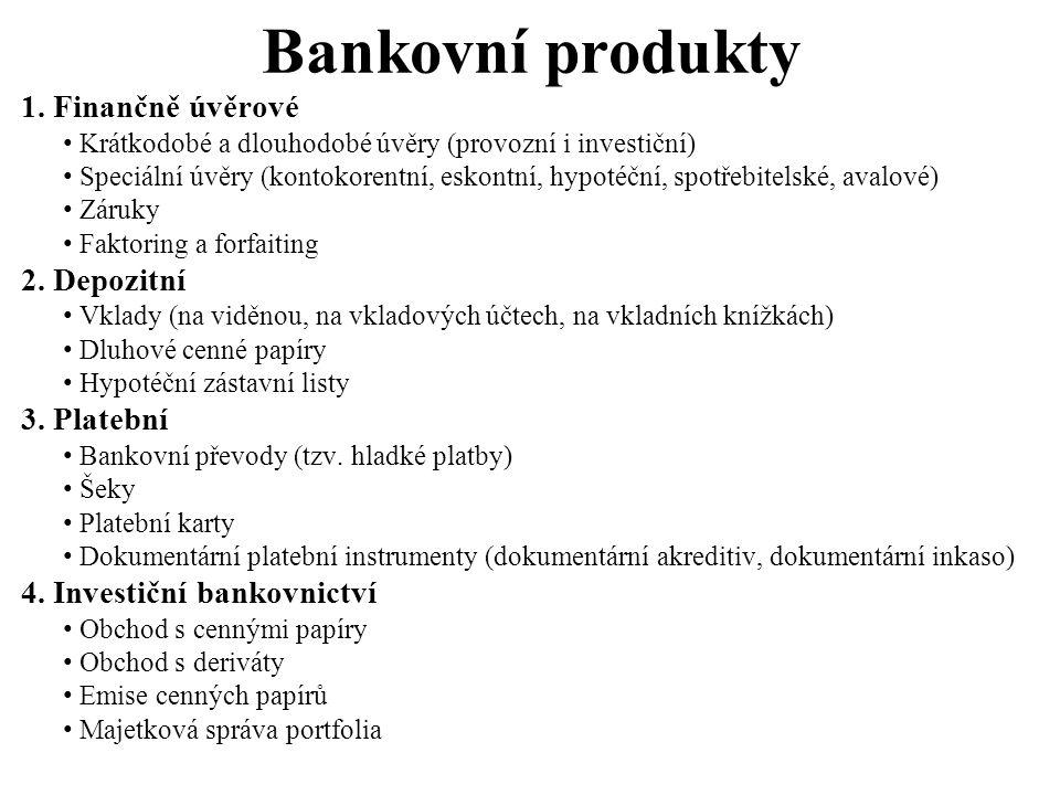 Bankovní produkty 1. Finančně úvěrové Krátkodobé a dlouhodobé úvěry (provozní i investiční) Speciální úvěry (kontokorentní, eskontní, hypotéční, spotř