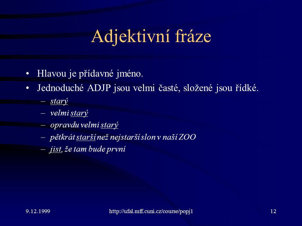 9.12.1999http://ufal.mff.cuni.cz/course/popj112 Adjektivní fráze Hlavou je přídavné jméno.