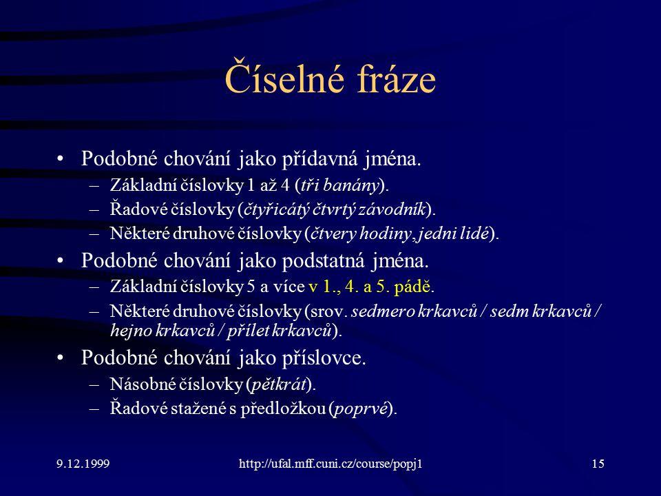 9.12.1999http://ufal.mff.cuni.cz/course/popj115 Číselné fráze Podobné chování jako přídavná jména.