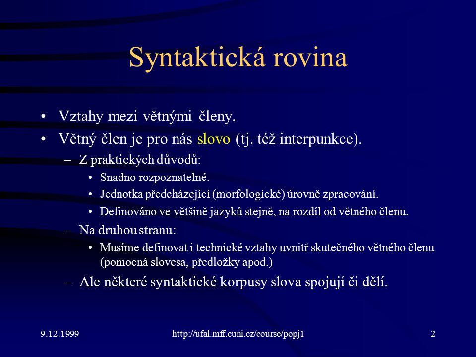 9.12.1999http://ufal.mff.cuni.cz/course/popj13 Umístění syntaktické roviny Mezi morfologií a významem.