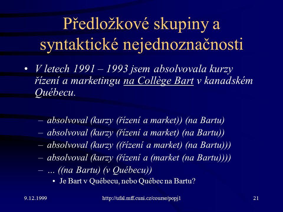 9.12.1999http://ufal.mff.cuni.cz/course/popj121 Předložkové skupiny a syntaktické nejednoznačnosti V letech 1991 – 1993 jsem absolvovala kurzy řízení a marketingu na Collège Bart v kanadském Québecu.
