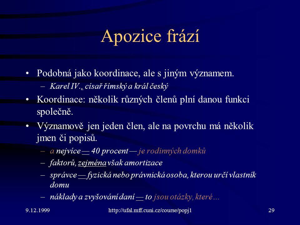 9.12.1999http://ufal.mff.cuni.cz/course/popj129 Apozice frází Podobná jako koordinace, ale s jiným významem.