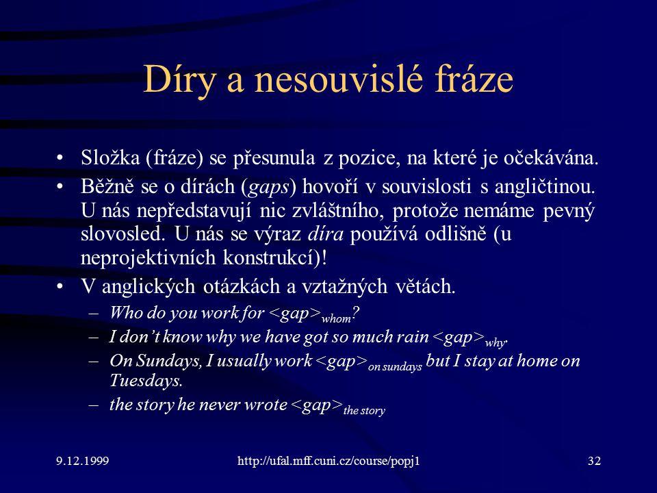 9.12.1999http://ufal.mff.cuni.cz/course/popj132 Díry a nesouvislé fráze Složka (fráze) se přesunula z pozice, na které je očekávána.