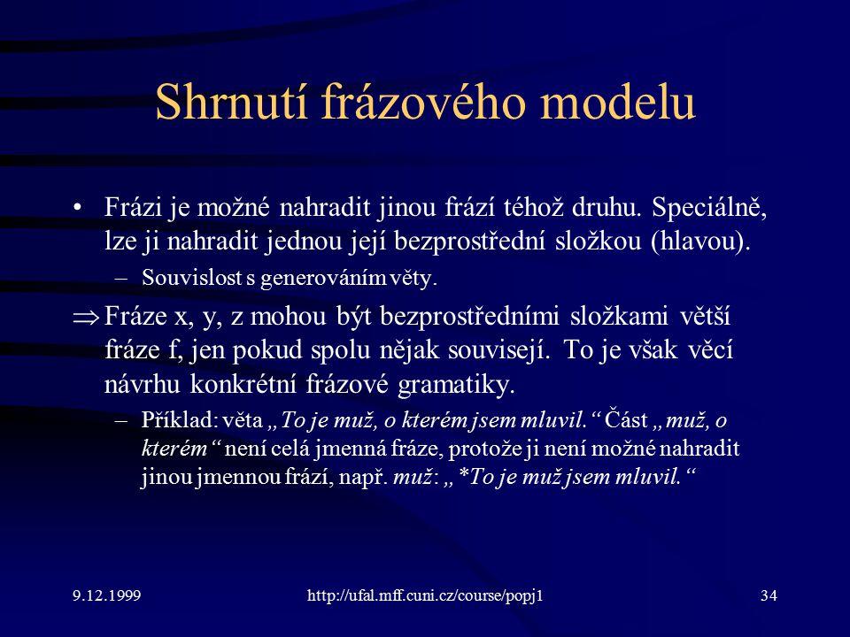9.12.1999http://ufal.mff.cuni.cz/course/popj134 Shrnutí frázového modelu Frázi je možné nahradit jinou frází téhož druhu.