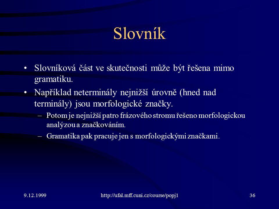 9.12.1999http://ufal.mff.cuni.cz/course/popj136 Slovník Slovníková část ve skutečnosti může být řešena mimo gramatiku.