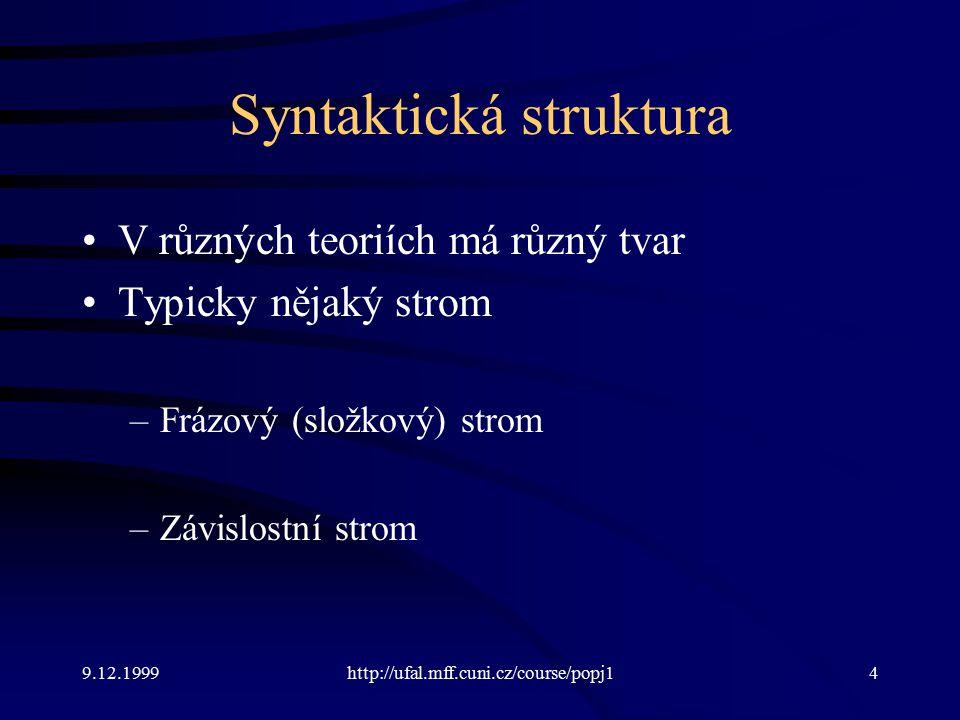 9.12.1999http://ufal.mff.cuni.cz/course/popj14 Syntaktická struktura V různých teoriích má různý tvar Typicky nějaký strom –Frázový (složkový) strom –Závislostní strom