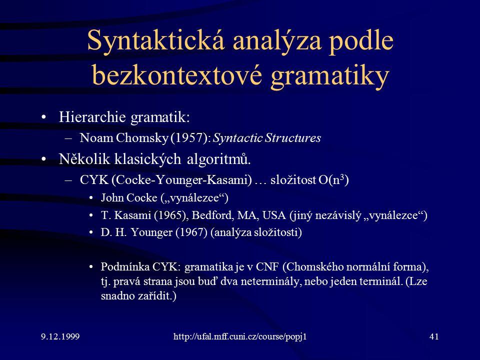 9.12.1999http://ufal.mff.cuni.cz/course/popj141 Syntaktická analýza podle bezkontextové gramatiky Hierarchie gramatik: –Noam Chomsky (1957): Syntactic Structures Několik klasických algoritmů.