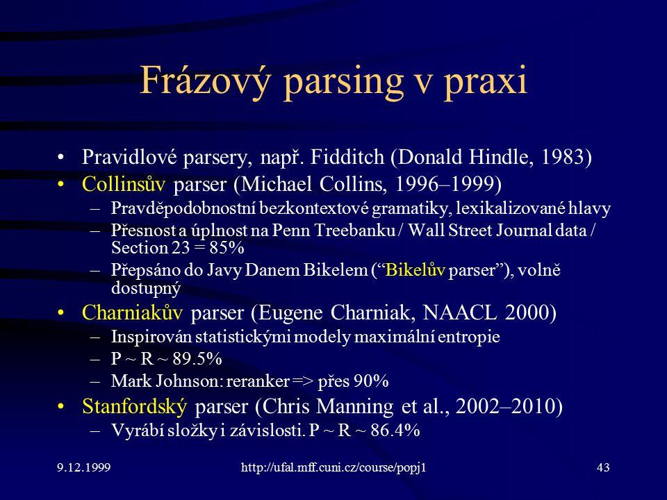9.12.1999http://ufal.mff.cuni.cz/course/popj143 Frázový parsing v praxi Pravidlové parsery, např.