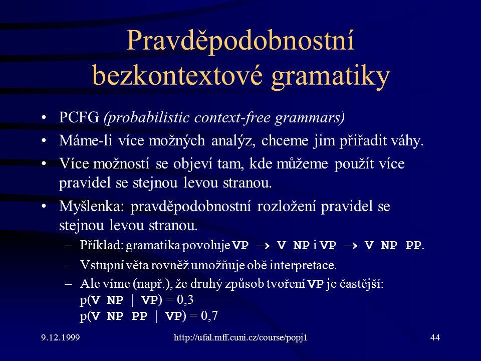 9.12.1999http://ufal.mff.cuni.cz/course/popj144 Pravděpodobnostní bezkontextové gramatiky PCFG (probabilistic context-free grammars) Máme-li více možných analýz, chceme jim přiřadit váhy.