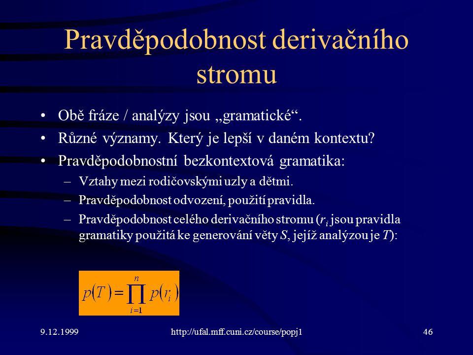 """9.12.1999http://ufal.mff.cuni.cz/course/popj146 Pravděpodobnost derivačního stromu Obě fráze / analýzy jsou """"gramatické ."""