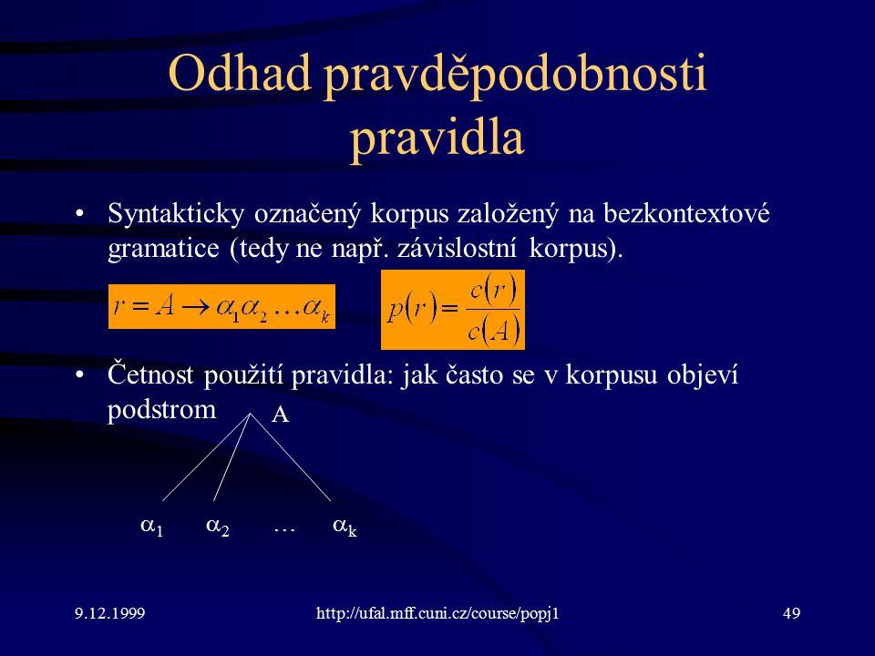 9.12.1999http://ufal.mff.cuni.cz/course/popj149 Odhad pravděpodobnosti pravidla Syntakticky označený korpus založený na bezkontextové gramatice (tedy ne např.