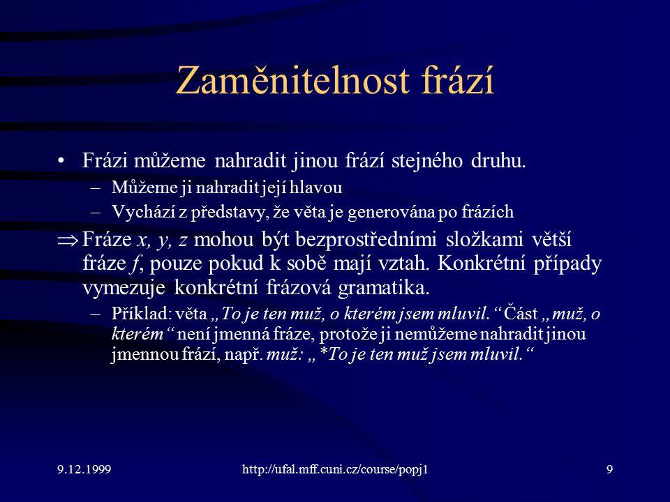 9.12.1999http://ufal.mff.cuni.cz/course/popj19 Zaměnitelnost frází Frázi můžeme nahradit jinou frází stejného druhu.