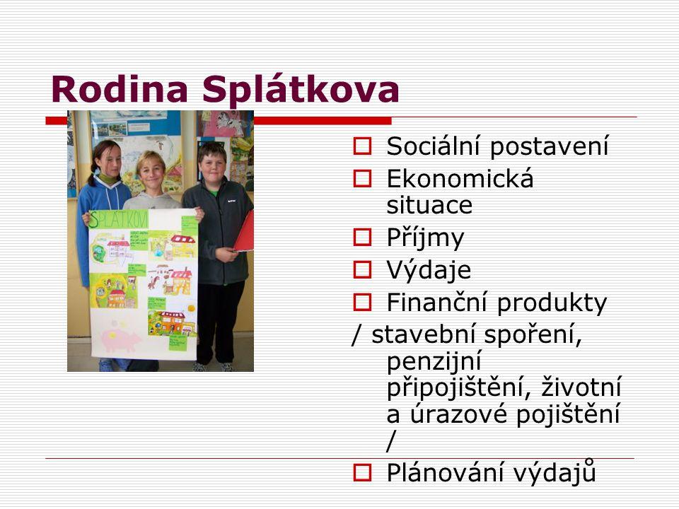 Rodina Šťastných  Sociální postavení  Ekonomická situace  Příjmy  Výdaje  Finanční produkty / stavební spoření, penzijní připojištění, životní a úrazové pojištění /  Plánování výdajů