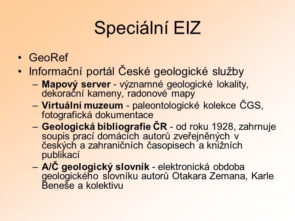 Speciální EIZ GeoRef Informační portál České geologické služby –Mapový server - významné geologické lokality, dekorační kameny, radonové mapy –Virtuál