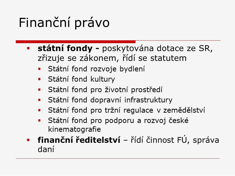 Finanční právo  státní fondy - poskytována dotace ze SR, zřizuje se zákonem, řídí se statutem  Státní fond rozvoje bydlení  Státní fond kultury  Státní fond pro životní prostředí  Státní fond dopravní infrastruktury  Státní fond pro tržní regulace v zemědělství  Státní fond pro podporu a rozvoj české kinematografie  finanční ředitelství – řídí činnost FÚ, správa daní
