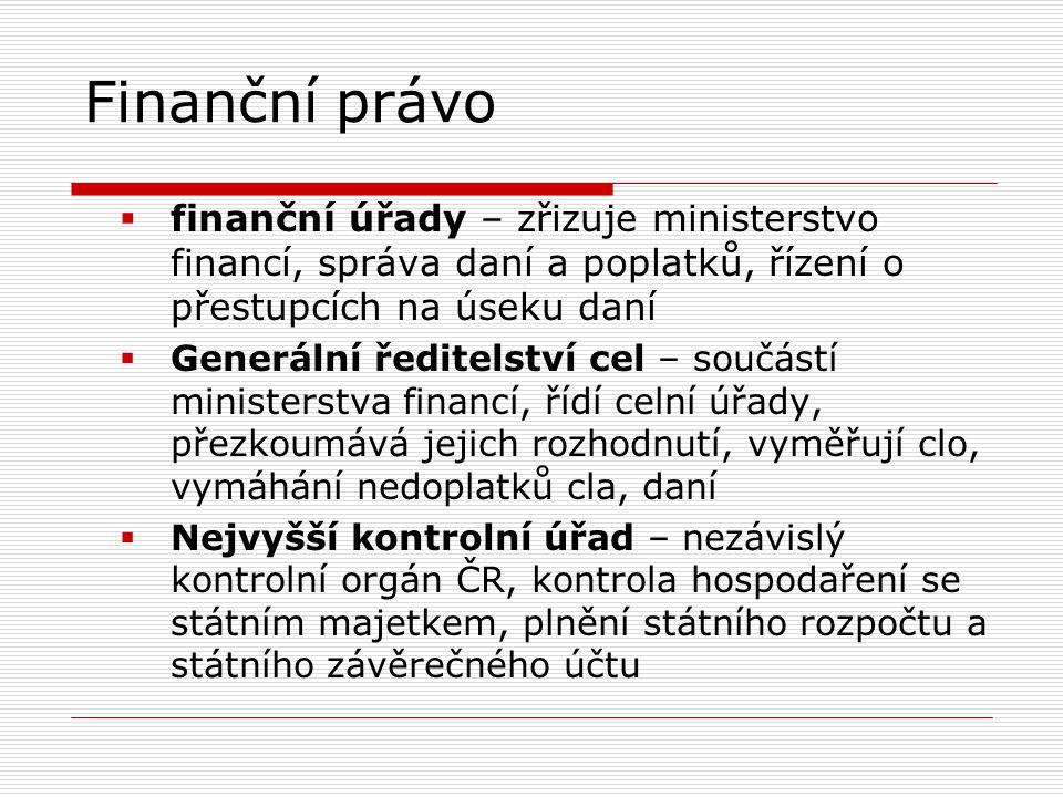 Finanční právo  finanční úřady – zřizuje ministerstvo financí, správa daní a poplatků, řízení o přestupcích na úseku daní  Generální ředitelství cel – součástí ministerstva financí, řídí celní úřady, přezkoumává jejich rozhodnutí, vyměřují clo, vymáhání nedoplatků cla, daní  Nejvyšší kontrolní úřad – nezávislý kontrolní orgán ČR, kontrola hospodaření se státním majetkem, plnění státního rozpočtu a státního závěrečného účtu