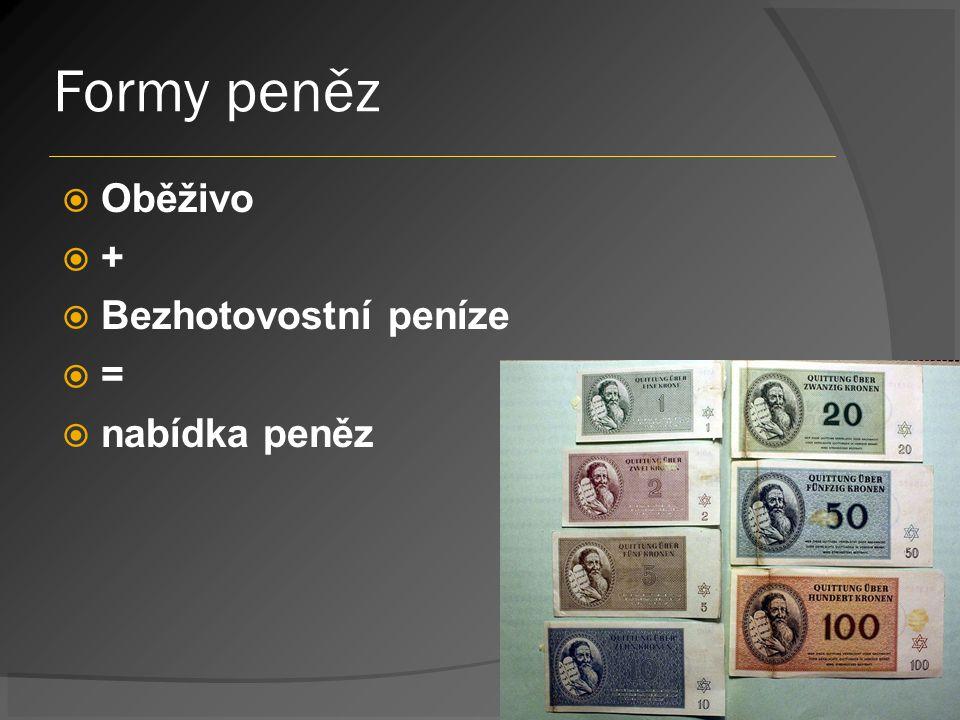 Formy peněz  Oběživo  +  Bezhotovostní peníze  =  nabídka peněz