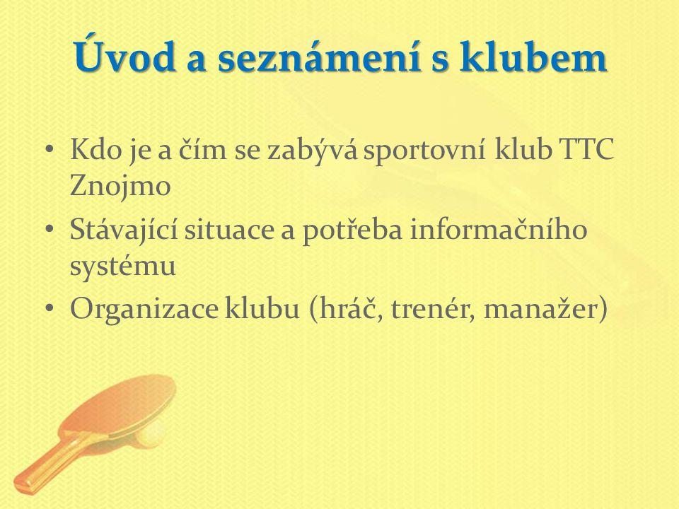 Úvod a seznámení s klubem Kdo je a čím se zabývá sportovní klub TTC Znojmo Stávající situace a potřeba informačního systému Organizace klubu (hráč, tr