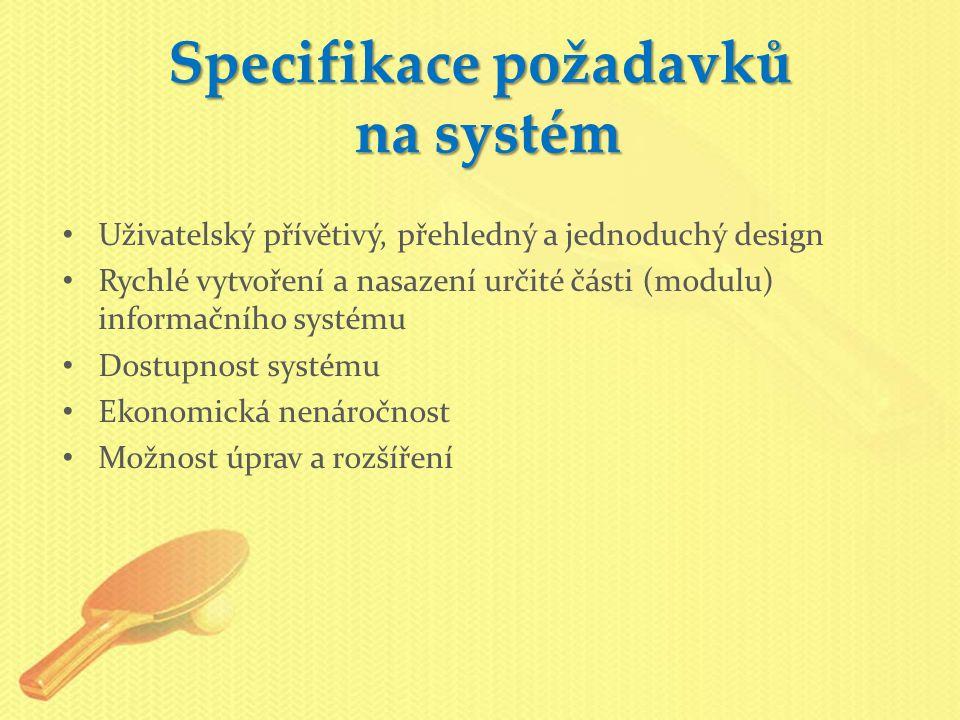 Specifikace požadavků na systém Uživatelský přívětivý, přehledný a jednoduchý design Rychlé vytvoření a nasazení určité části (modulu) informačního systému Dostupnost systému Ekonomická nenáročnost Možnost úprav a rozšíření